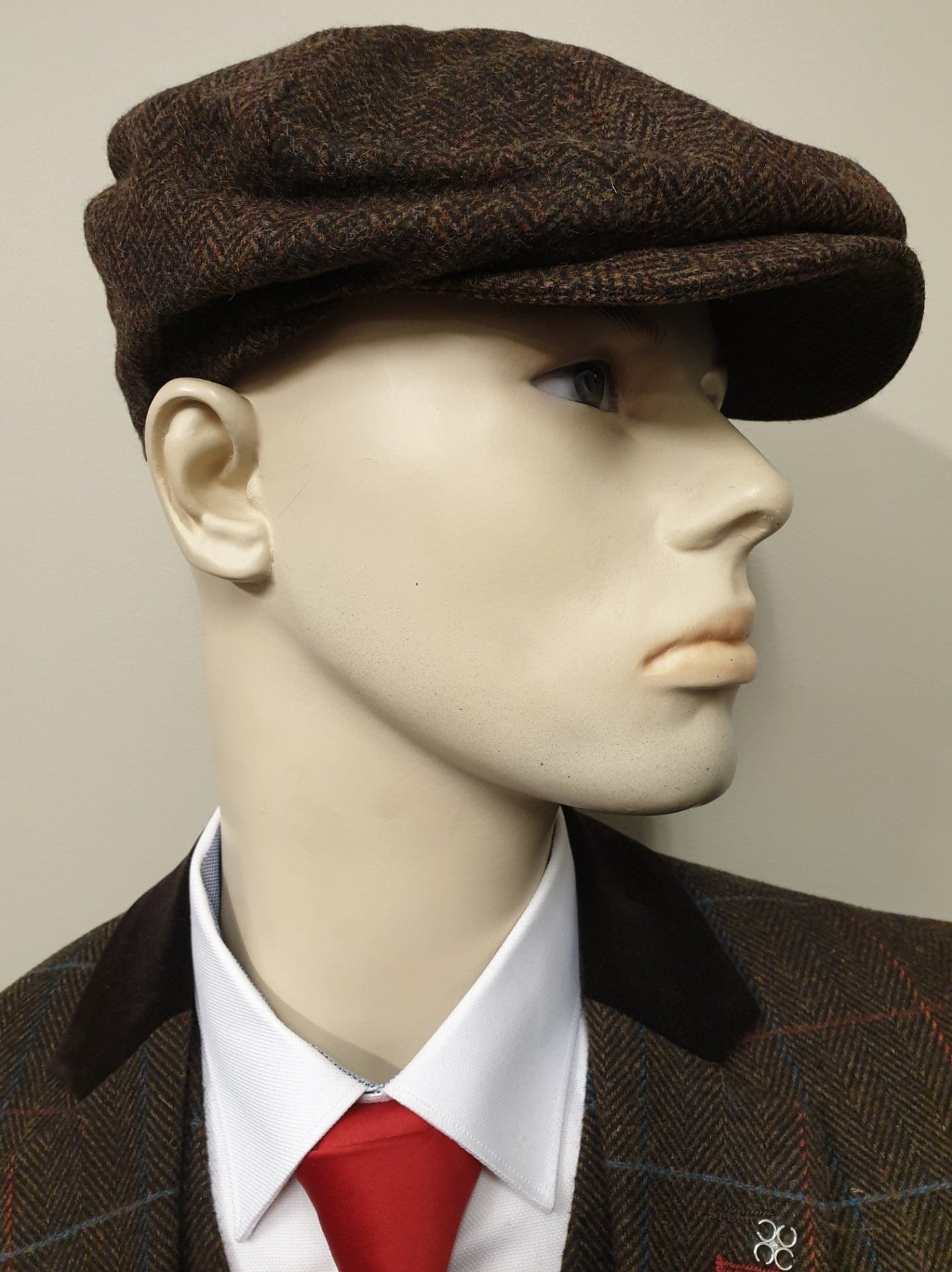 Brown Tweed 8 Piece Newsboy Cap