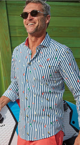 Dario Beltran Tropical Birds Stripe Shirt