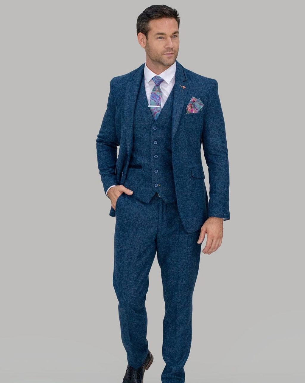 Cavani Carnegi Blue Tweed Check Suit