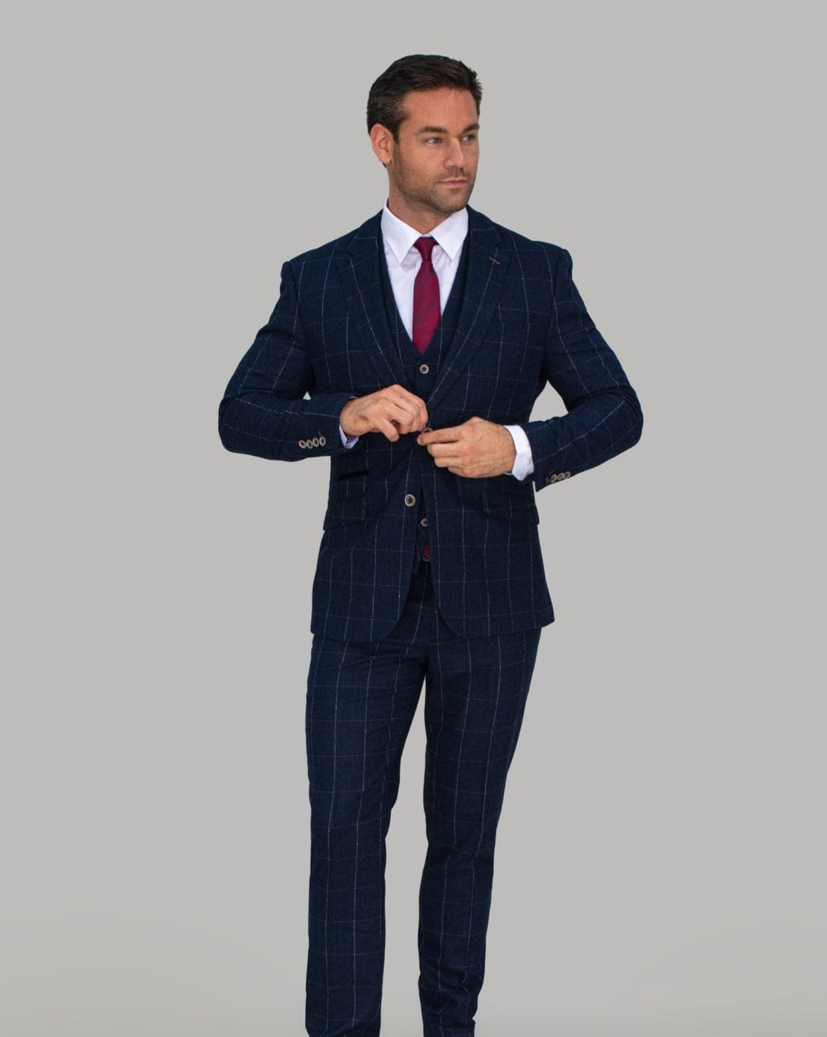 Cavani Angels Navy Tweed Check Suit