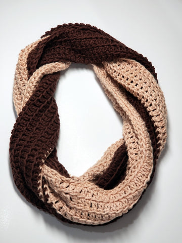Extra Long Infinity Two-tone Scarf- Brown & Antique Cream