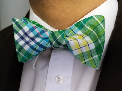 Green, Blue and Yellow Plaid Self Tie Bow Tie