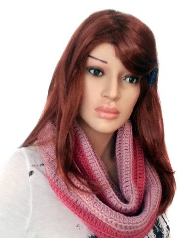 Extra Long Infinity Two Tone Scarf -Rosey & Powder Pink