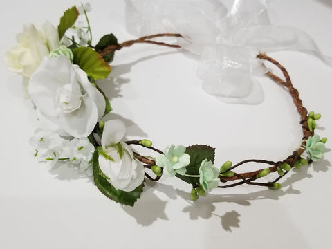 A Little Minty and White Roses Crown