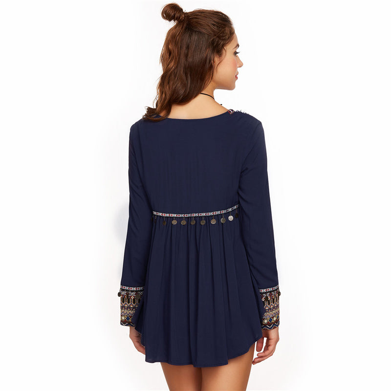 Embroidered Yoke and Cuff Coin Fringe  Blouse