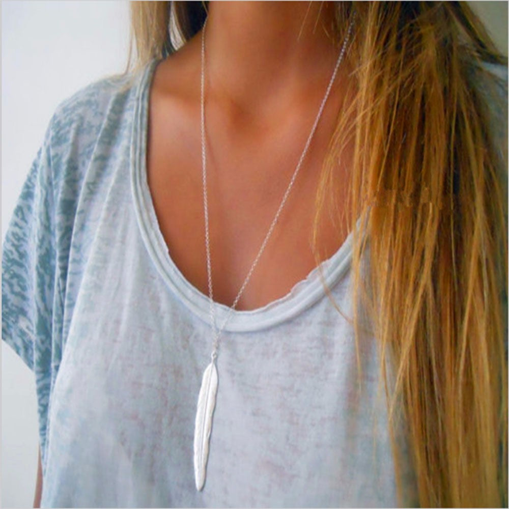 Silver Long Necklace With Simple Feather