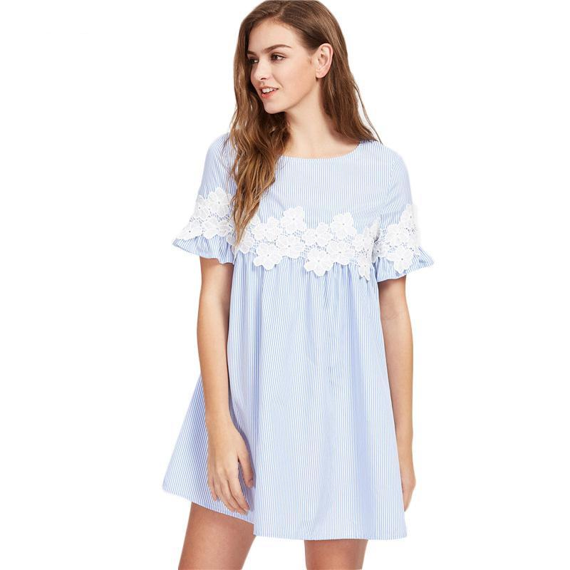 Floral Lace Applique Blue Striped Dress