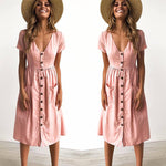 Button Down Swing Dress with Pockets