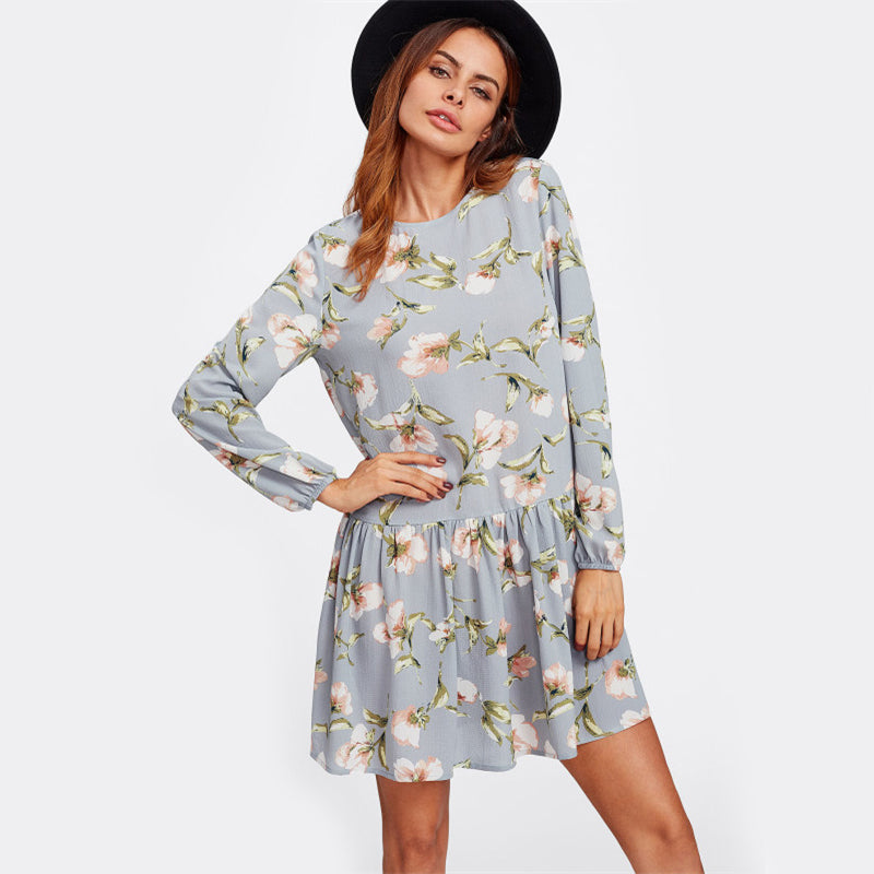 Grey Flower Print Dress