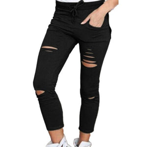 Womens Ripped Skinny Denim Jeans Cut High Waisted Jegging Trousers Skinny High Waist Stretch Ripped Slim Pencil Pants W09-Mosh Market-black-L-Mosh Market