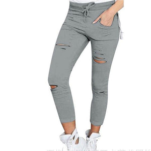 Womens Ripped Skinny Denim Jeans Cut High Waisted Jegging Trousers Skinny High Waist Stretch Ripped Slim Pencil Pants W09-Mosh Market-Gray-XXXL-Mosh Market