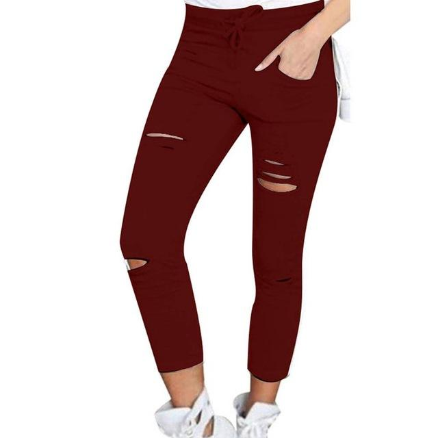 Womens Ripped Skinny Denim Jeans Cut High Waisted Jegging Trousers Skinny High Waist Stretch Ripped Slim Pencil Pants W09-Mosh Market-Wine Red-XXXL-Mosh Market