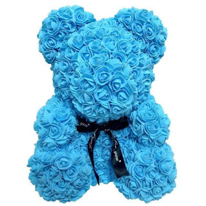 16 Rose Teddy Bear - 40cm blue bear