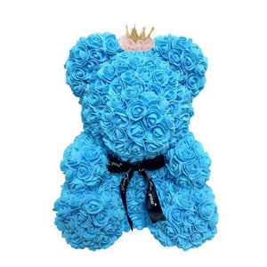 16 Rose Teddy Bear - 40cm blue crown