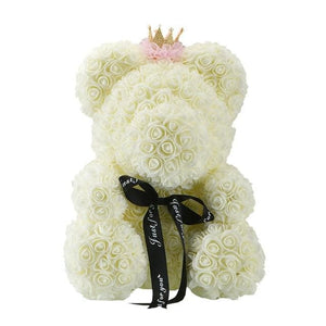 16 Rose Teddy Bear - 40cm cream crown