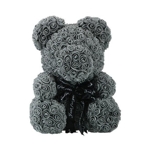 16 Rose Teddy Bear - 40cm grey bear
