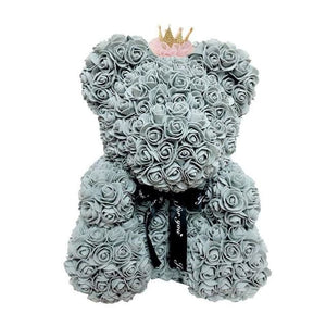 16 Rose Teddy Bear - 40cm grey crown