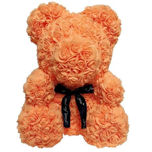 16 Rose Teddy Bear - 40cm orange bear