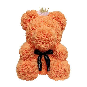 16 Rose Teddy Bear - 40cm orange crown