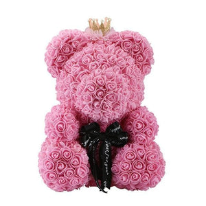 16 Rose Teddy Bear - 40cm pink crown