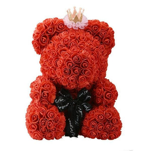16 Rose Teddy Bear - 40cm red crown
