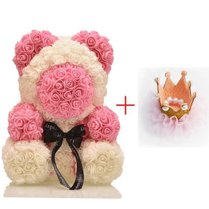 16 Rose Teddy Bear - Chocolate