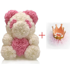 16 Rose Teddy Bear - Dark Gray
