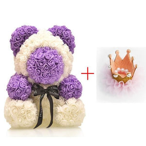 16 Rose Teddy Bear - Plum
