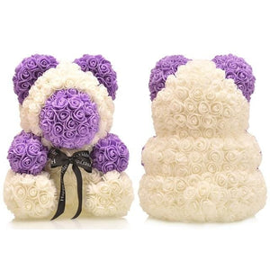 16 Rose Teddy Bear - purple bear 1