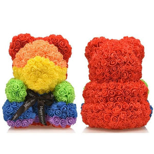 16 Rose Teddy Bear - rainbow bear 1