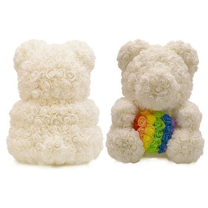 16 Rose Teddy Bear - rainbow bear
