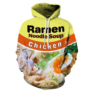 3D Graphic Print Funny Hoodies - Chicken noodles / S