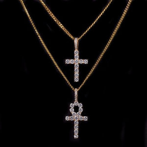 Bust Down Ankh & Cross Set - Gold set / Rope chain