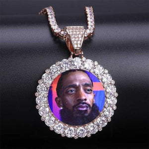 Custom Photo Medallion - Iced Out / Gold Color / 18 inch Rope chain - Pendant Necklaces