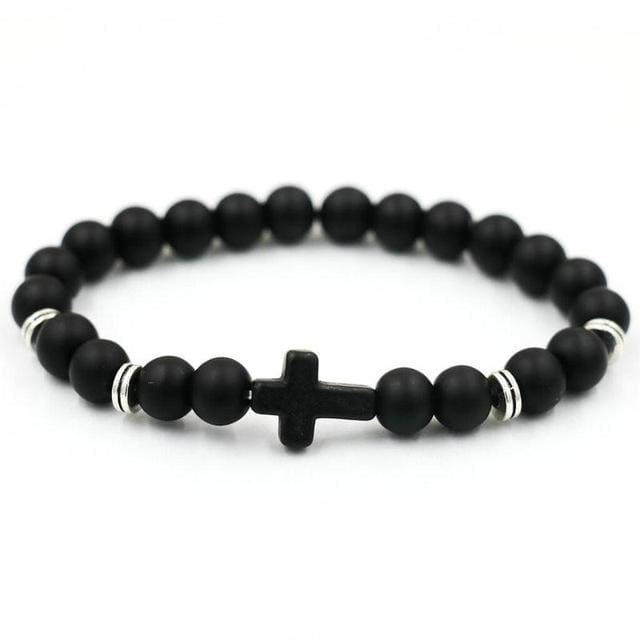 Free Beaded Cross Bracelet - black ms szj