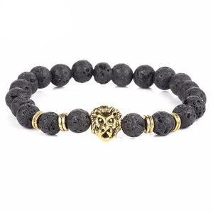 Free Black Lava Stone Lion Bracelet - Gold Black