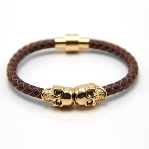 Free Skull Bracelet - gold with brown