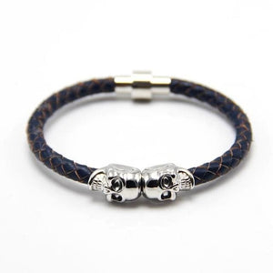 Free Skull Bracelet - silver with blue