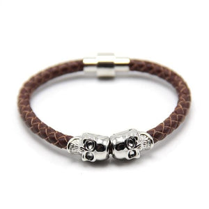 Free Skull Bracelet - silver with brown