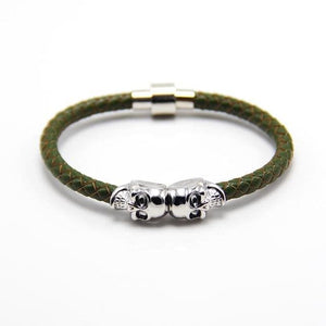 Free Skull Bracelet - silver with green