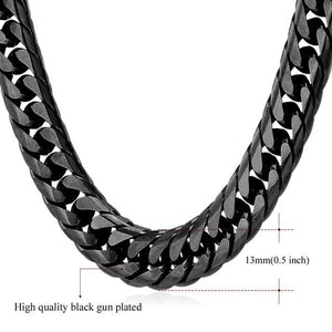 High End Cuban Links - 13mm Black color / 22 inches / United States