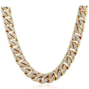 Iced out Cuban Link Chain - Gold / United States / 24inch 60cm