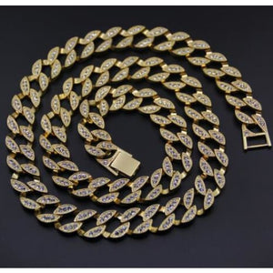 Iced Out Cuban Link Chain - golden