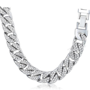 Iced out Cuban Link Chain - Silver / United States / 24inch 60cm