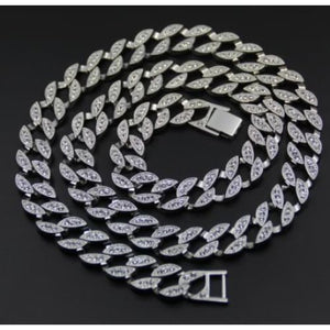 Iced Out Cuban Link Chain - sliver