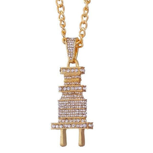 Iced out Plug Chain - Big Gold / Clear / China 60cm