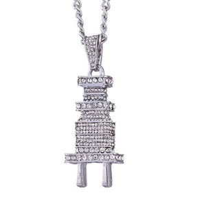 Iced out Plug Chain - Big Silver / Clear / China 60cm
