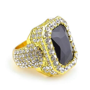 Iced out Ruby Ring - 7 / gold and black