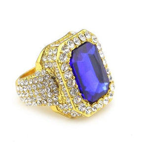 Iced out Ruby Ring - 7 / gold and blue