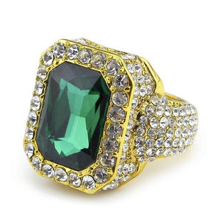 Iced out Ruby Ring - 7 / gold and green